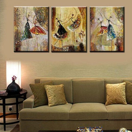 Ballet Dancers Painting, Canvas Painting for Dining Room, Modern Abstract Wall Art Paintings for Living Room