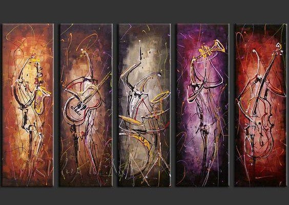 5 Piece Canvas Art, Musician Painting, Music Painting, Extra Large Canvas Art, Canvas Painting for Living Room
