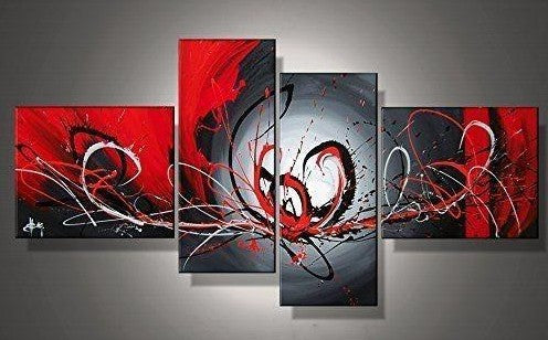 Abstract Art, Black and Red Wall Art Paintings, Living Room Wall Art, Buy Art Online
