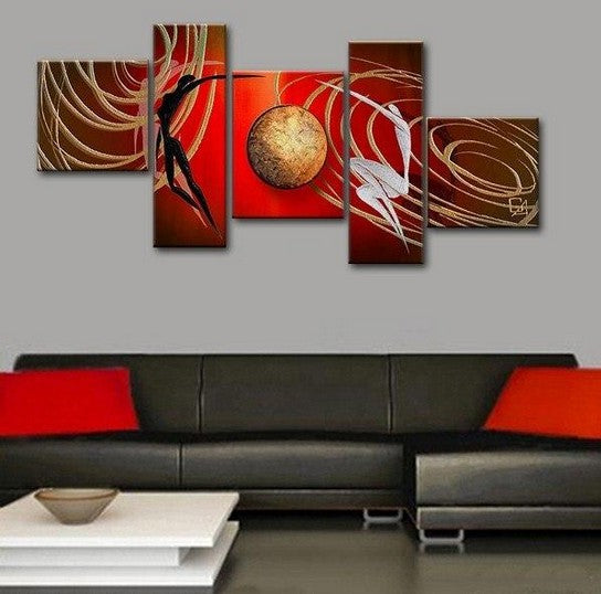 Love Abstract Painting, Bedroom Room Wall Art Paintings, Acrylic Painting on Canvas, 5 Piece Canvas Painting