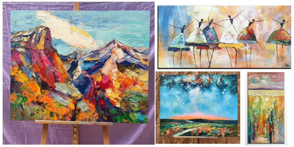 Paintings for Living Room, Buy Paintings Online, Palette Knife Paintings, Huge Painting for Sale, Oil Painting on Canvas, Original Landscape Paintings, Abstract Oil Paintings