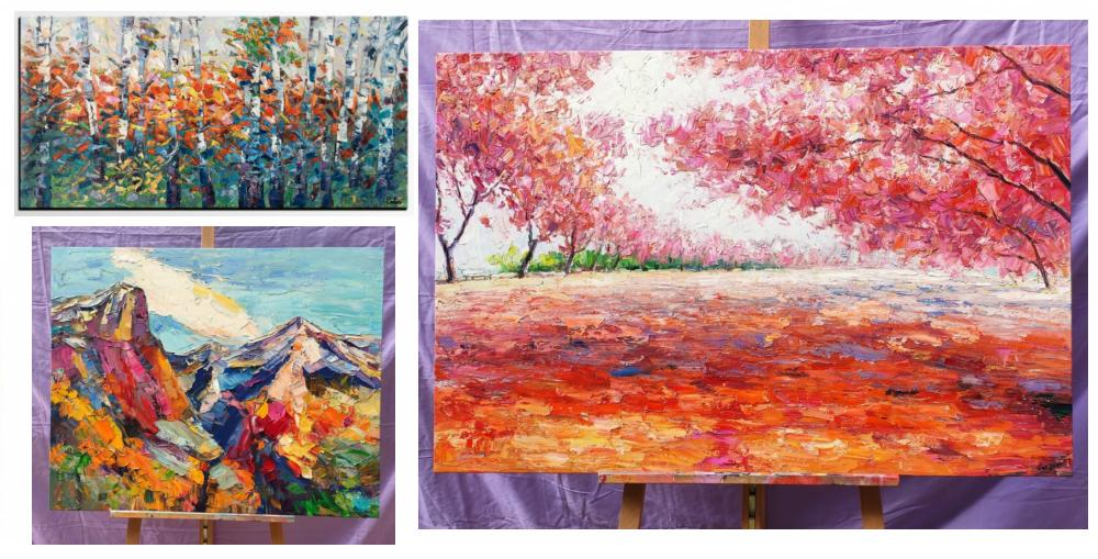 Landscape Painting on Canvas, Paintings for Dining Room, Mountain Oil Paintings, Tree Paintings, Landacape Canvas Paintings, Autumn Leaves Painting, Oil Painting on Canvas, Original Painting for Sale