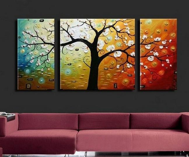 3 Piece Abstract Art Paintings, Tree of Life Painting, Canvas Painting for Living Room, Living Room Wall Art Paintings, Contemporary Modern Art Paintings