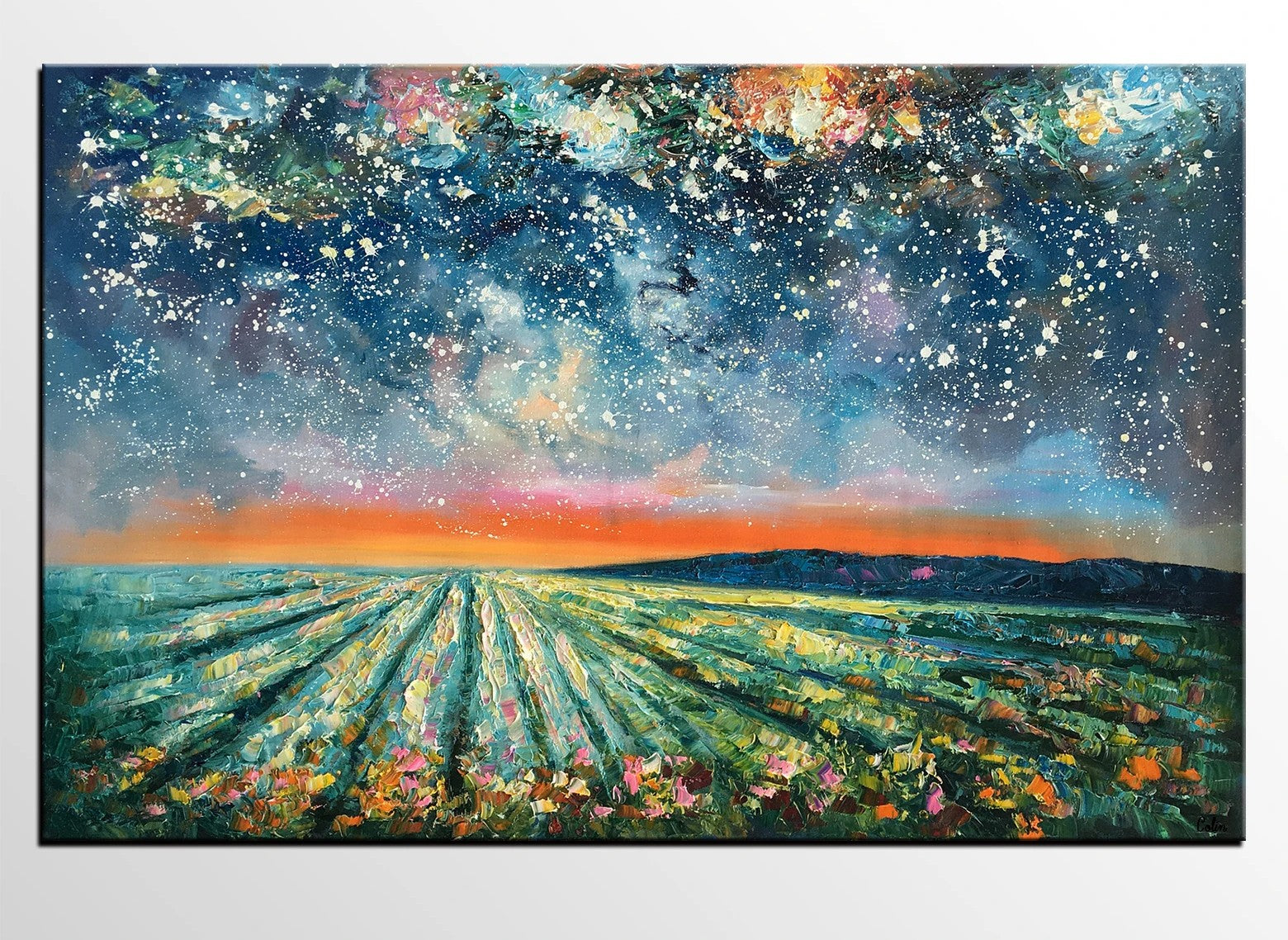 Abstract Landscape Painting, Starry Night Painting, Original Landscape Paintings, Heavy Texture Painting, Landscape Paintings for Living Room
