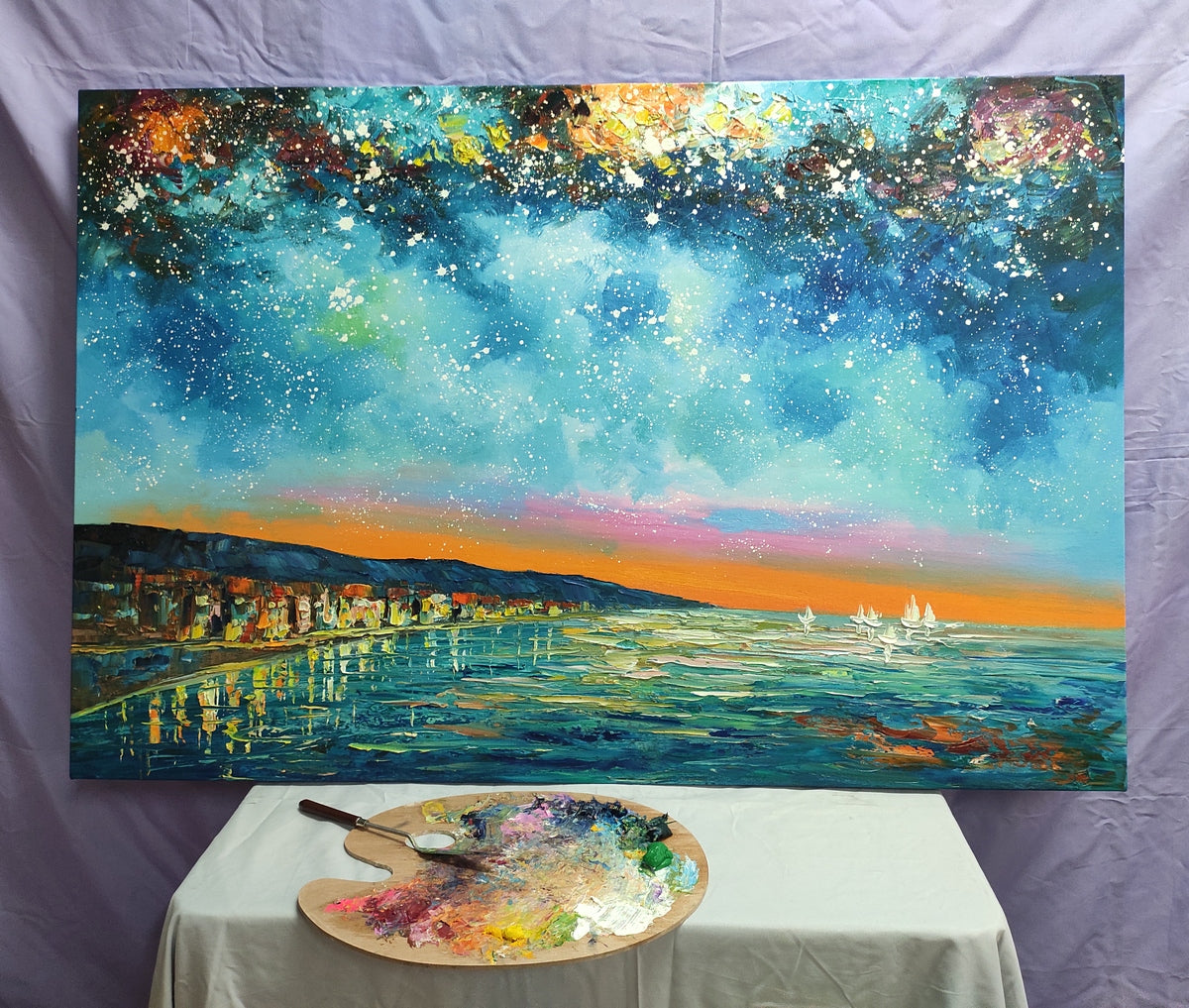 Starry Night Sky Painting, Oil Painting on Canvas, Original Landscape Paintings, Landscape Canvas Paintings, Palette Knife Paintings