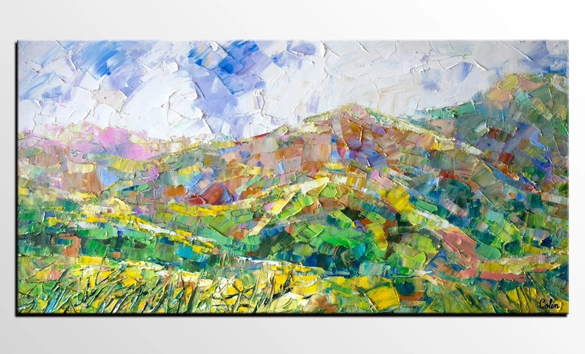 Mountain Landscape Painting, Spring Mountain Painting, Custom Original Painting on Canvas, Landscape Painting for Dining Room