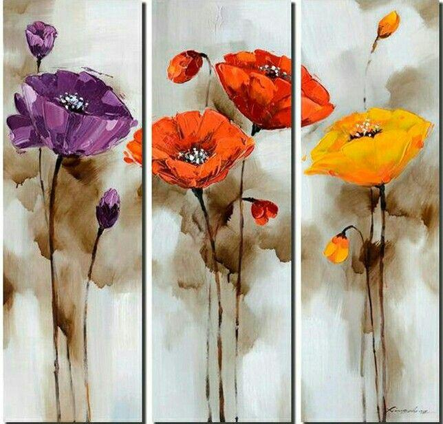 Flower Abstract Painting, Bedroom Abstract Painting, 3 Piece Wall Art Painting, Acrylic Flower Art, Simple Wall Art Paintings