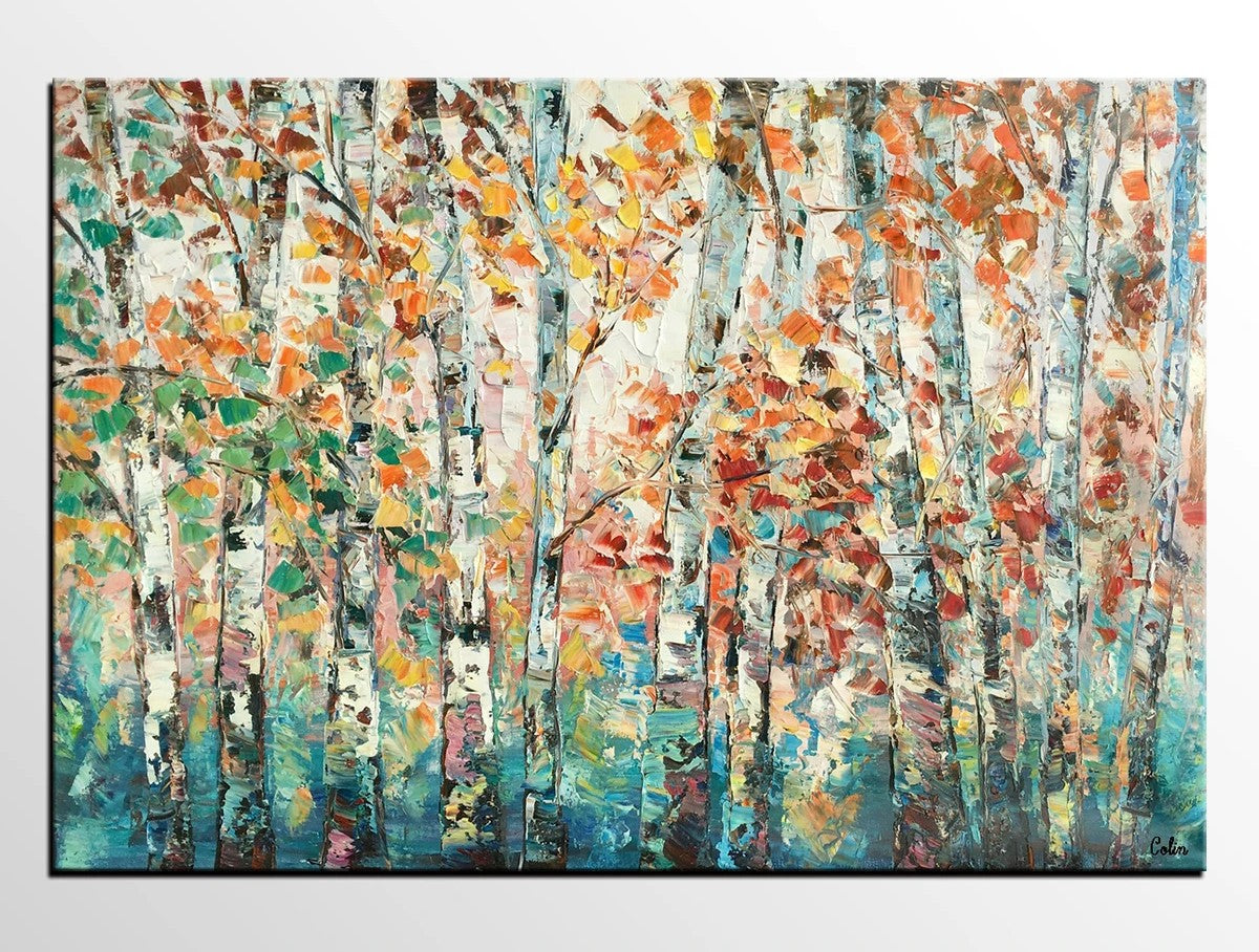 Landscape Oil Paintings, Autumn Tree Paintings, Custom Canvas Painting for Living Room, Landscape Painting on Canvas, Palette Knife Paintings