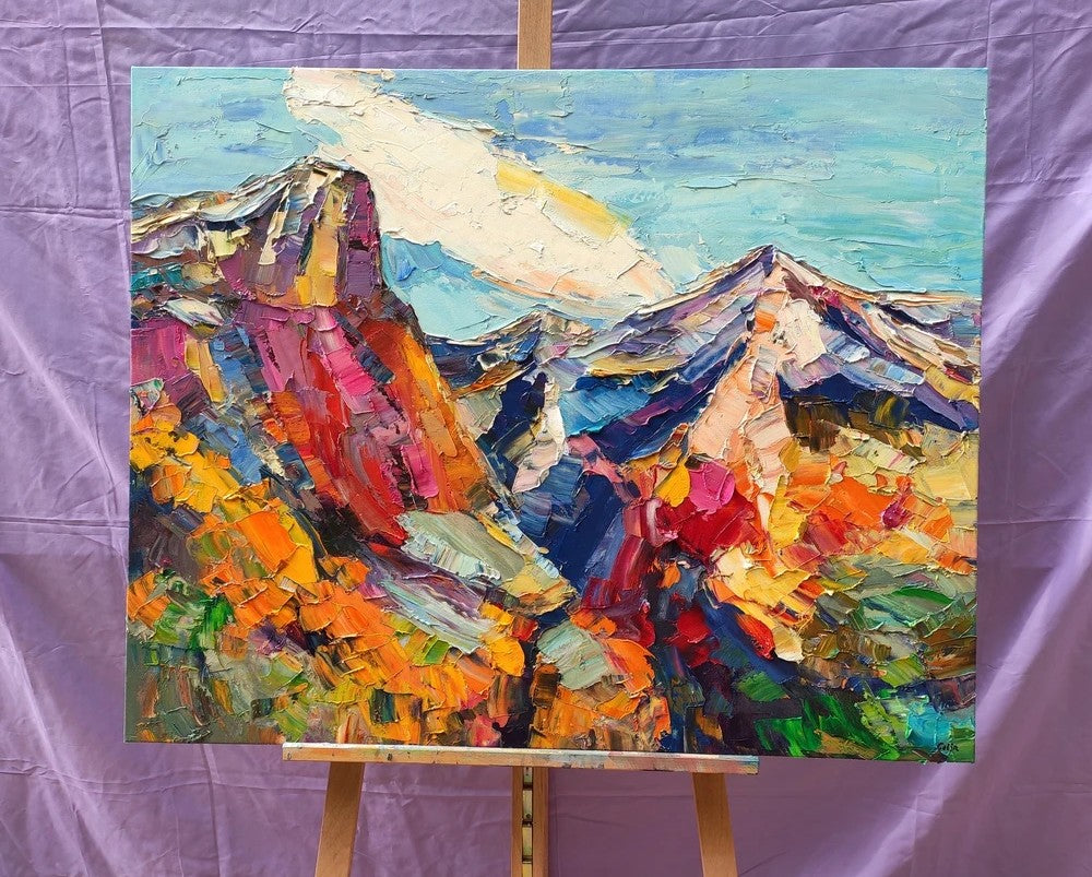 Abstract Art Landscape, Canvas Wall Art Paintings, Mountain Landscape Painting, Custom Landscape Oil Painting