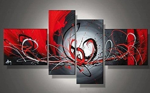Framed Abstract Art Painting, Black and Red Wall Art, Living Room Wall Art Sets, Buy Art Online