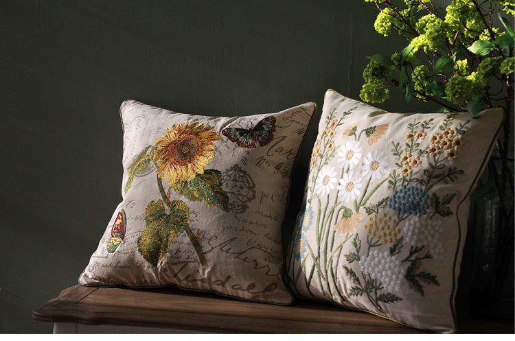Rustic Sofa Pillows for Living Room, Sunflower Pillow, Spring Flower Pillow, Cotton and Linen Pillow Cover, Decorative Throw Pillows for Couch