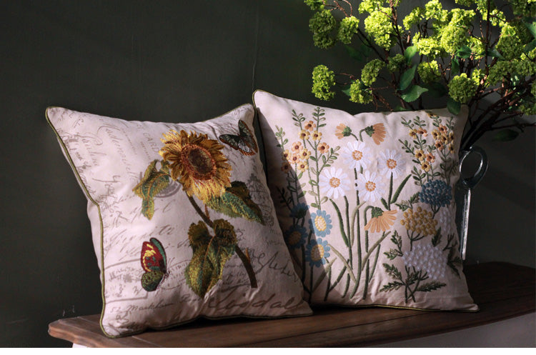 Sunflower Pillow, Spring Flower Pillow, Cotton and Linen Pillow Cover, Rustic Sofa Pillows for Living Room, Decorative Throw Pillows for Couch