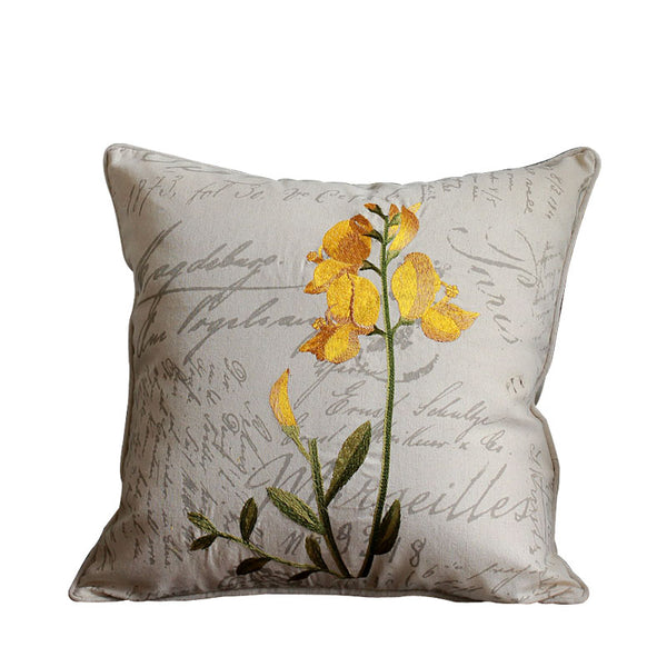 Orchid Flower Cotton and Linen Pillow Cover, Rustic Sofa Pillows for Living Room, Decorative Throw Pillows for Couch