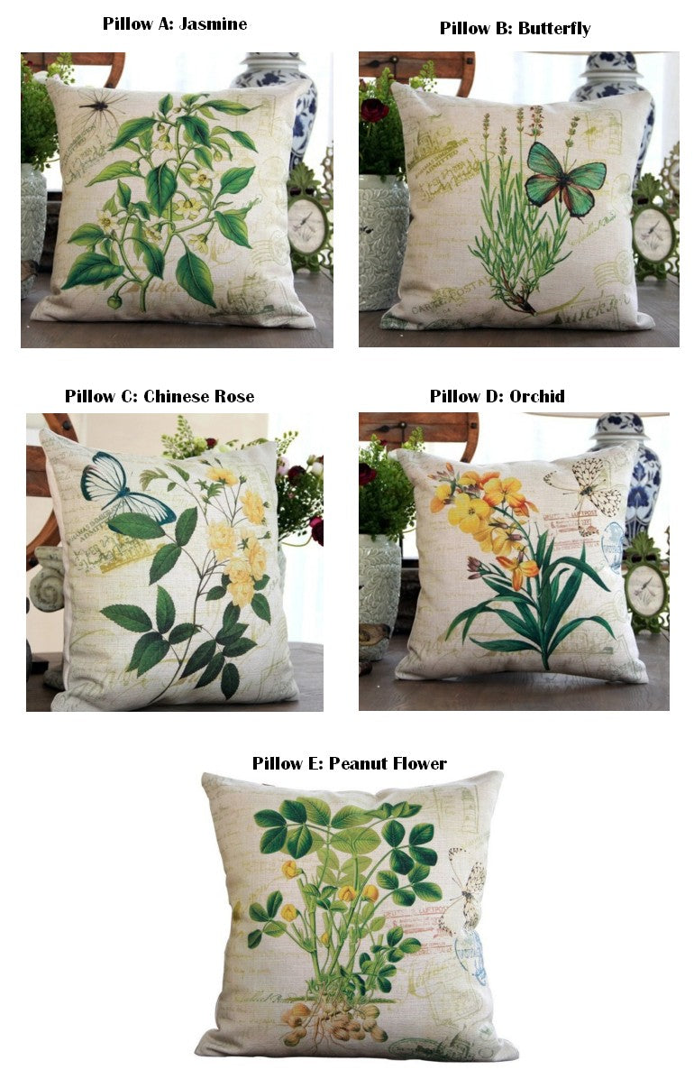Green Botany Cotton and Linen Pillow Cover, Rustic Sofa Pillows, Decorative Throw Pillows for Couch