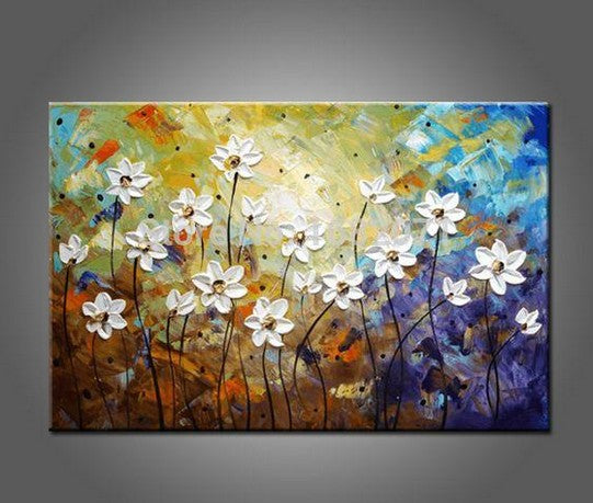 Daisy Flower Painting, Acrylic Flower Paintings, Bedroom Wall Art Painting, Flower Painting Abstract, Wall Art Paintings