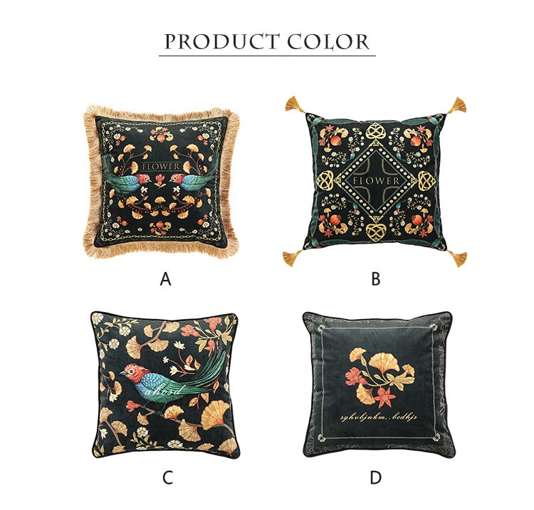 Bird Flower Pattern Pillow Covers, Decorative Throw Pillows, Sofa Throw Pillows, Pillow Cases, Throw Pillows for Couch