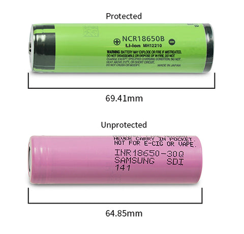 Length difference between protected and unprotected 18650 cells - SkyGenius Blog