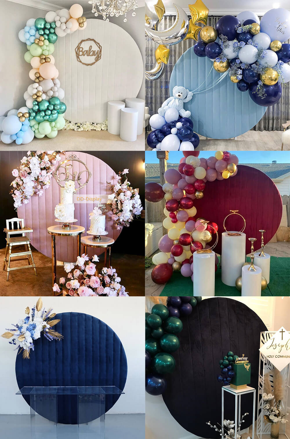 Velvet Round Backdrop Cover with Stand | Birthday&Baby Shower&Wedding Decorations