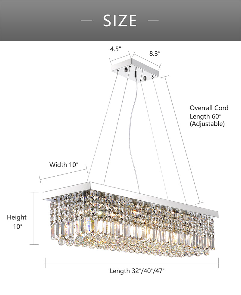 Modern Chandelier with Crystal Shade