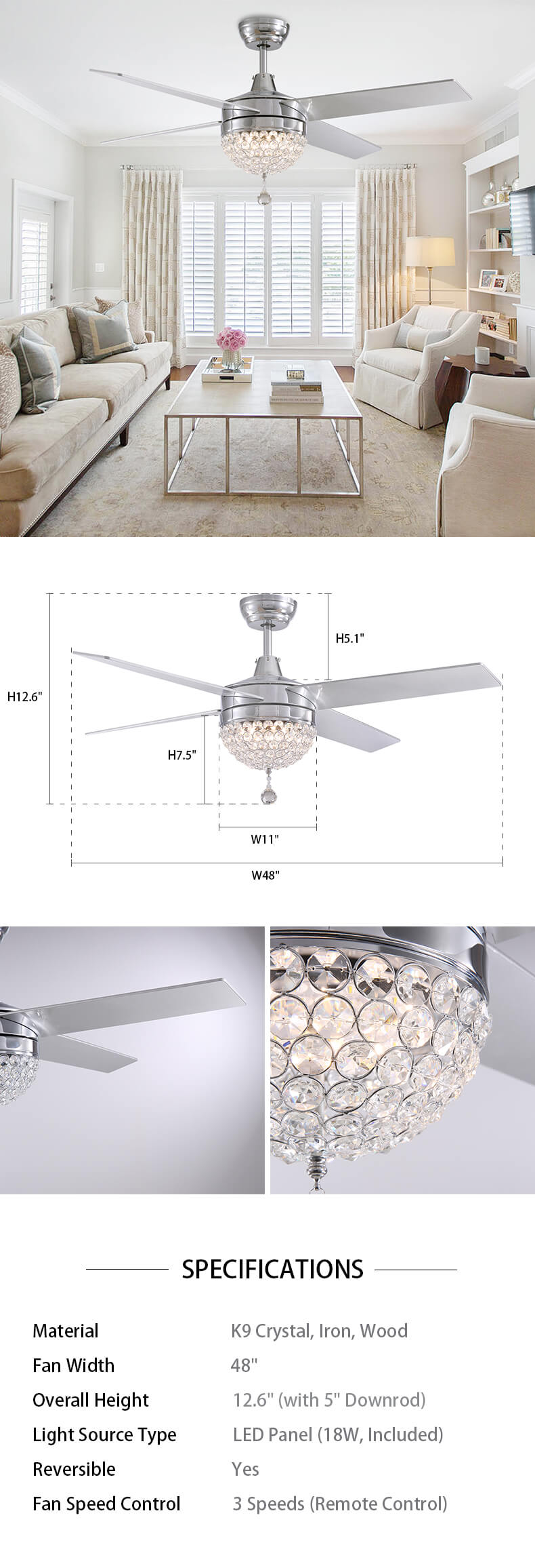 4 Blades Crystal Ceiling Fan with LED Light Dimensions