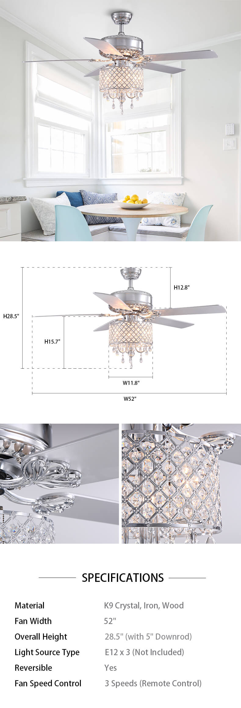 Chrome Blade Crystal Ceiling Fan Dimensions