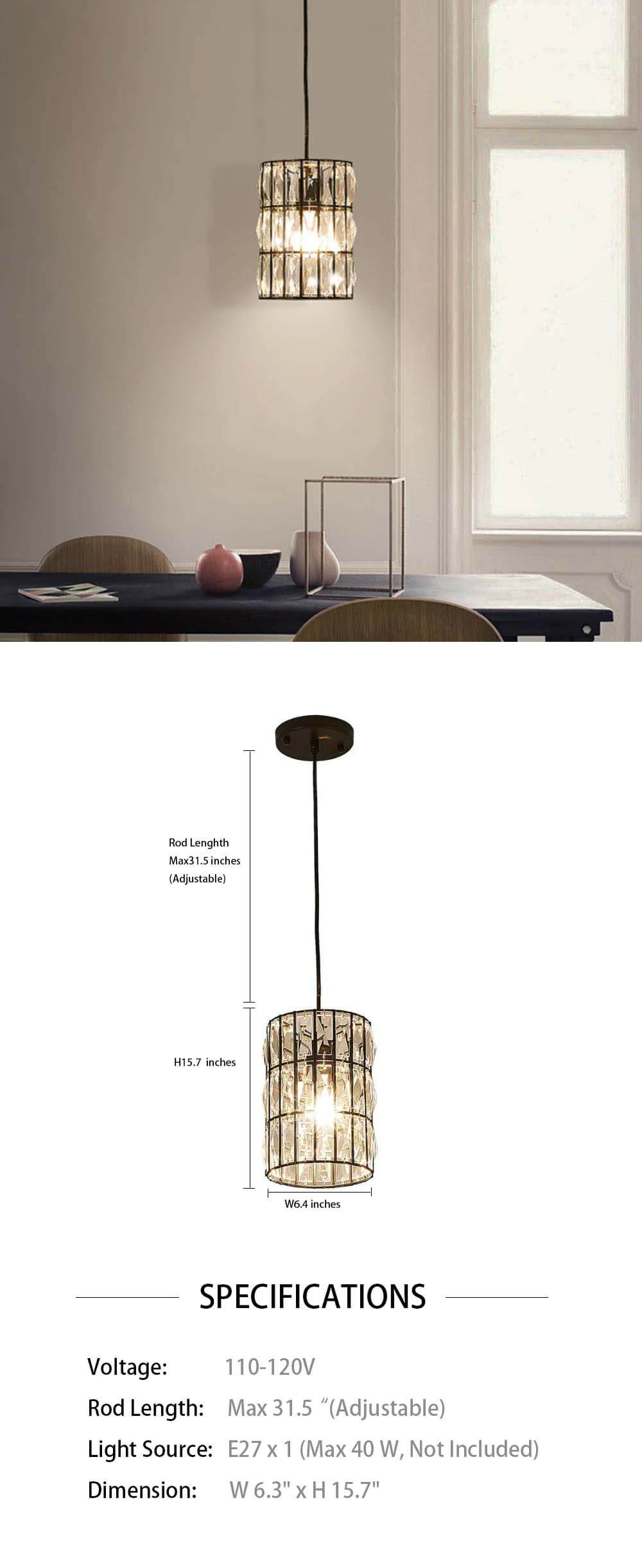 Cylinder Shaped Crystal Pendant Light