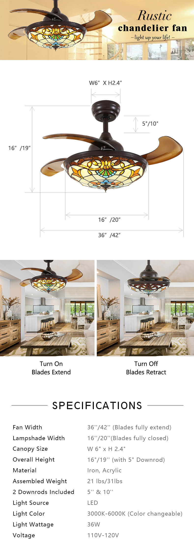 Farmhouse Retractable Ceiling Fan