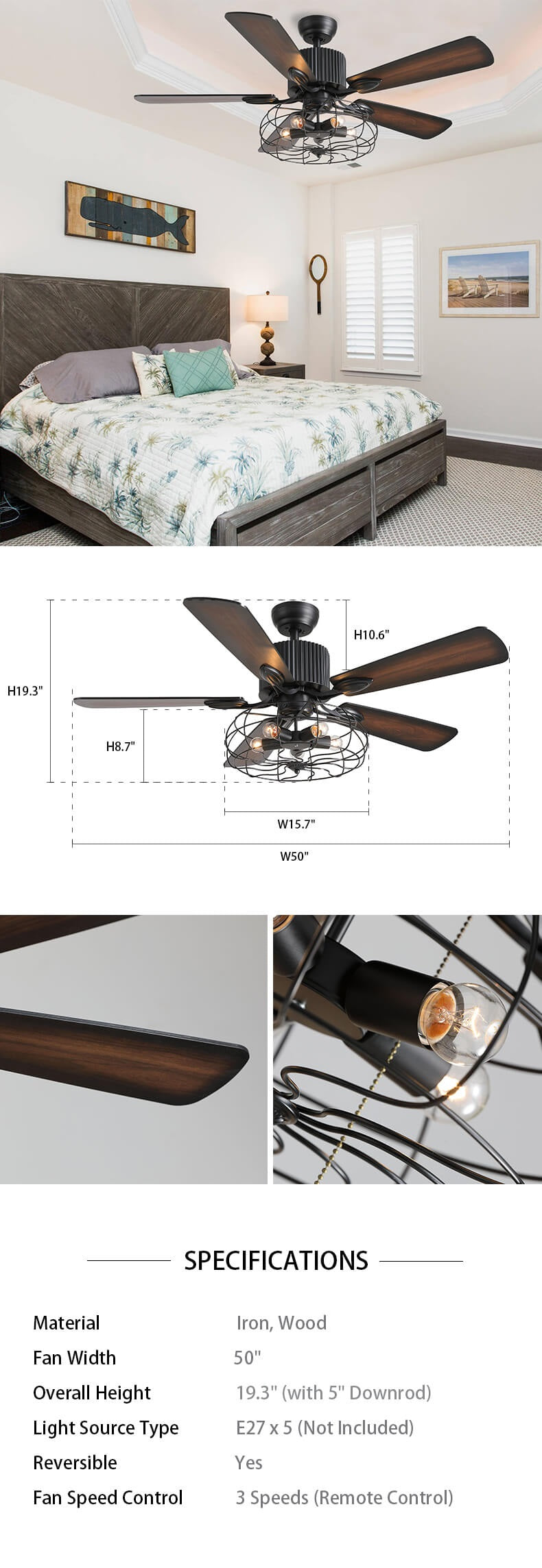 Industrial Chandelier Ceiling Fan with Reversible Blades Dimension