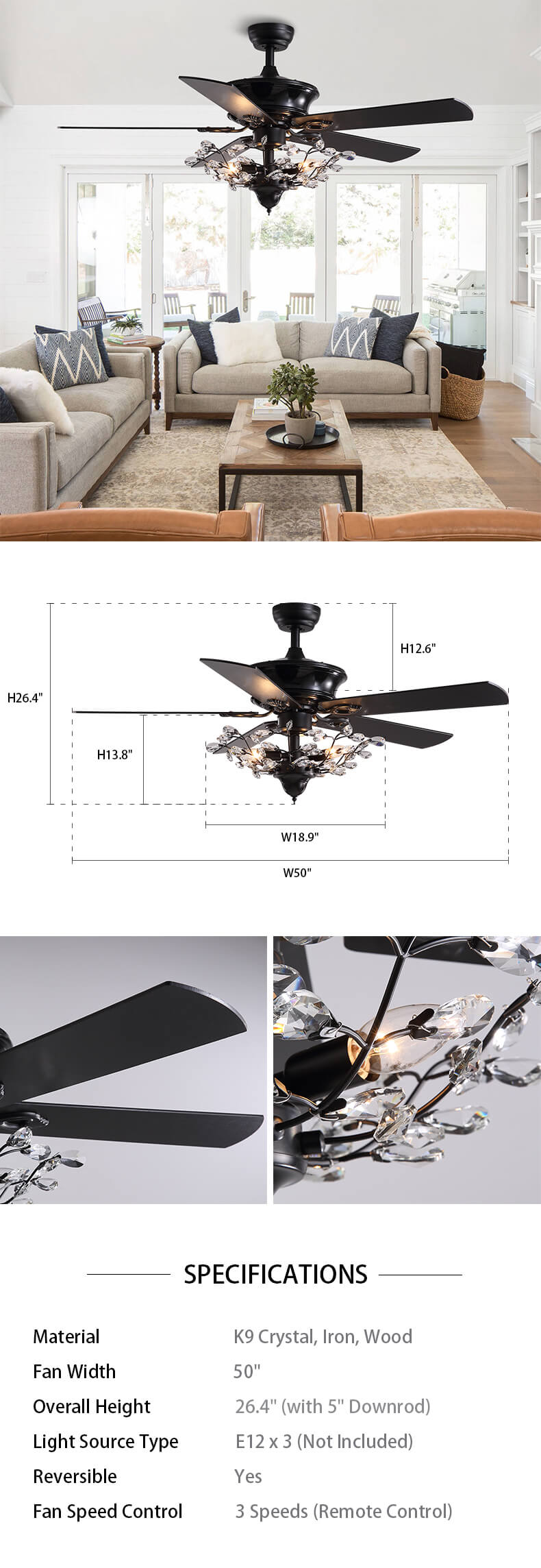 Reversible Ceiling Fan Combo with Crystal Dimension