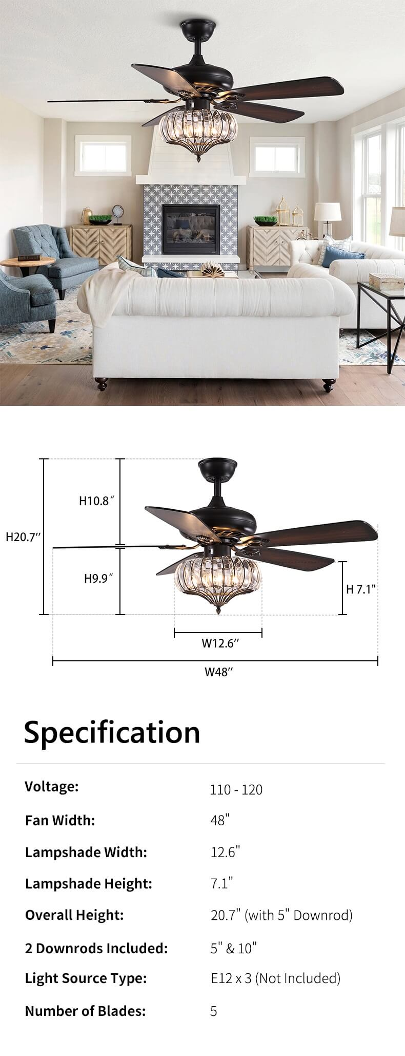 Reversible Wood Blades Ceiling Fan Dimension