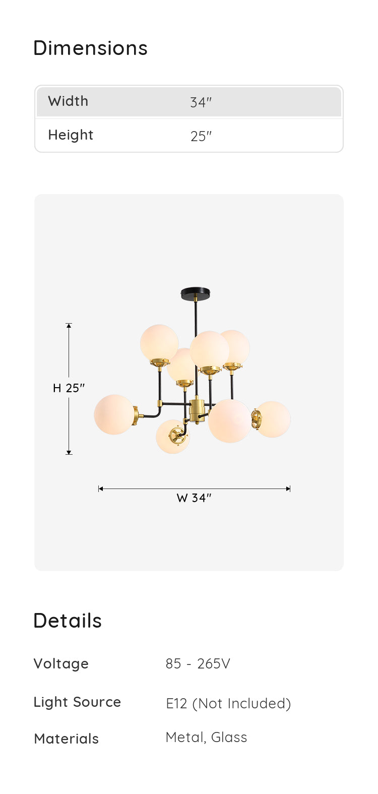 Modern Glass Globe Chandelier dimensions & parameters